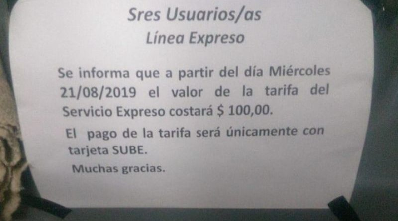 El pasaje en la línea Expreso Candelaria-Posadas cuesta 100 pesos